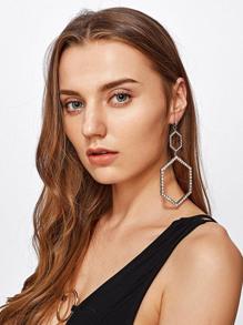Double Hexagon Oversized Hoop Earrings