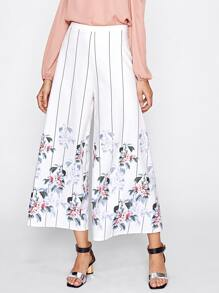 Striped And Flower Print Culotte Pants