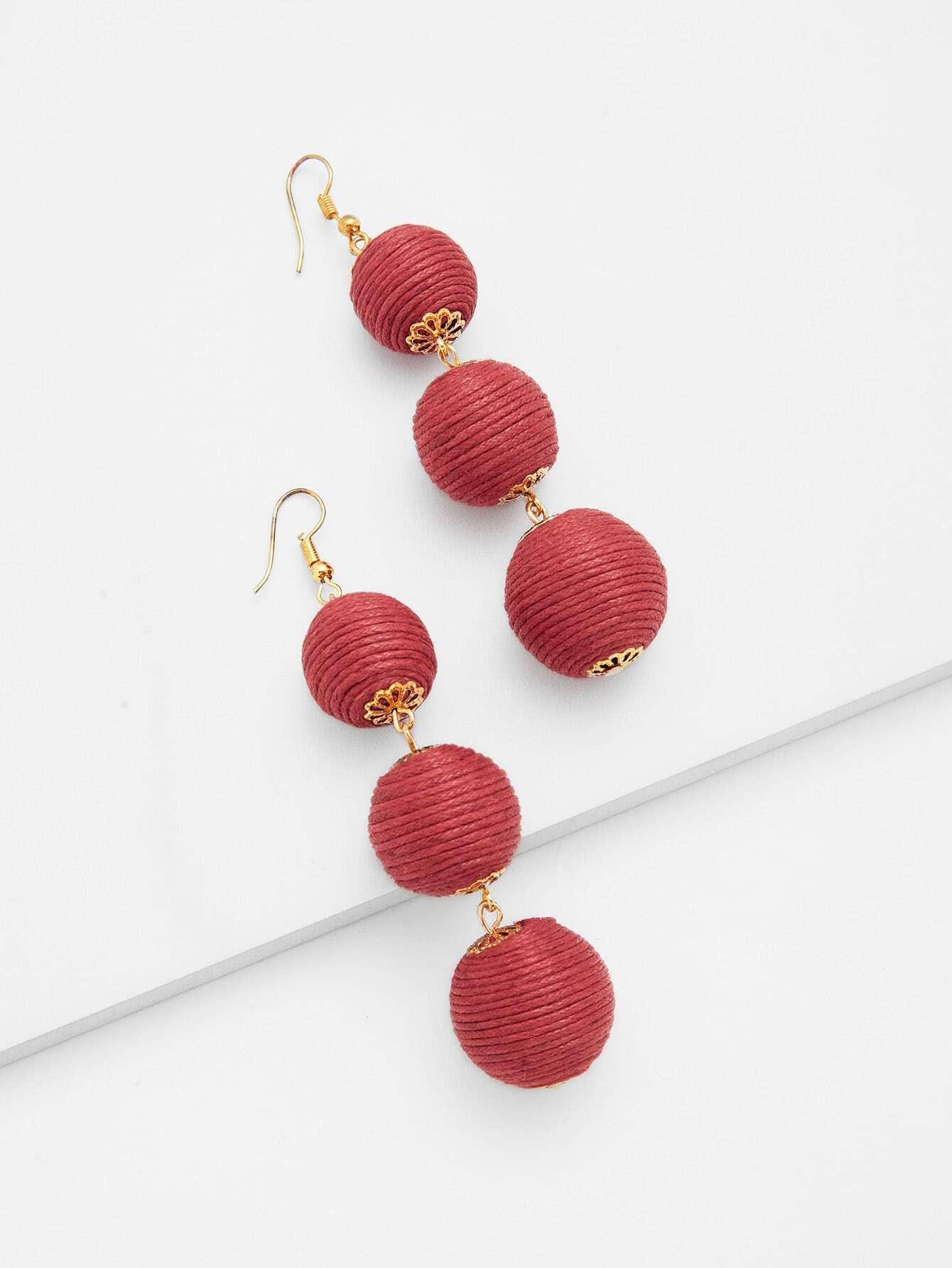 Pom Pom Design Drop Earrings pom pom drop earrings