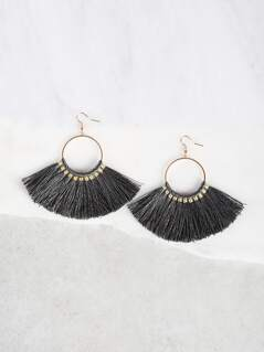 Circle Tassel Earrings GRY