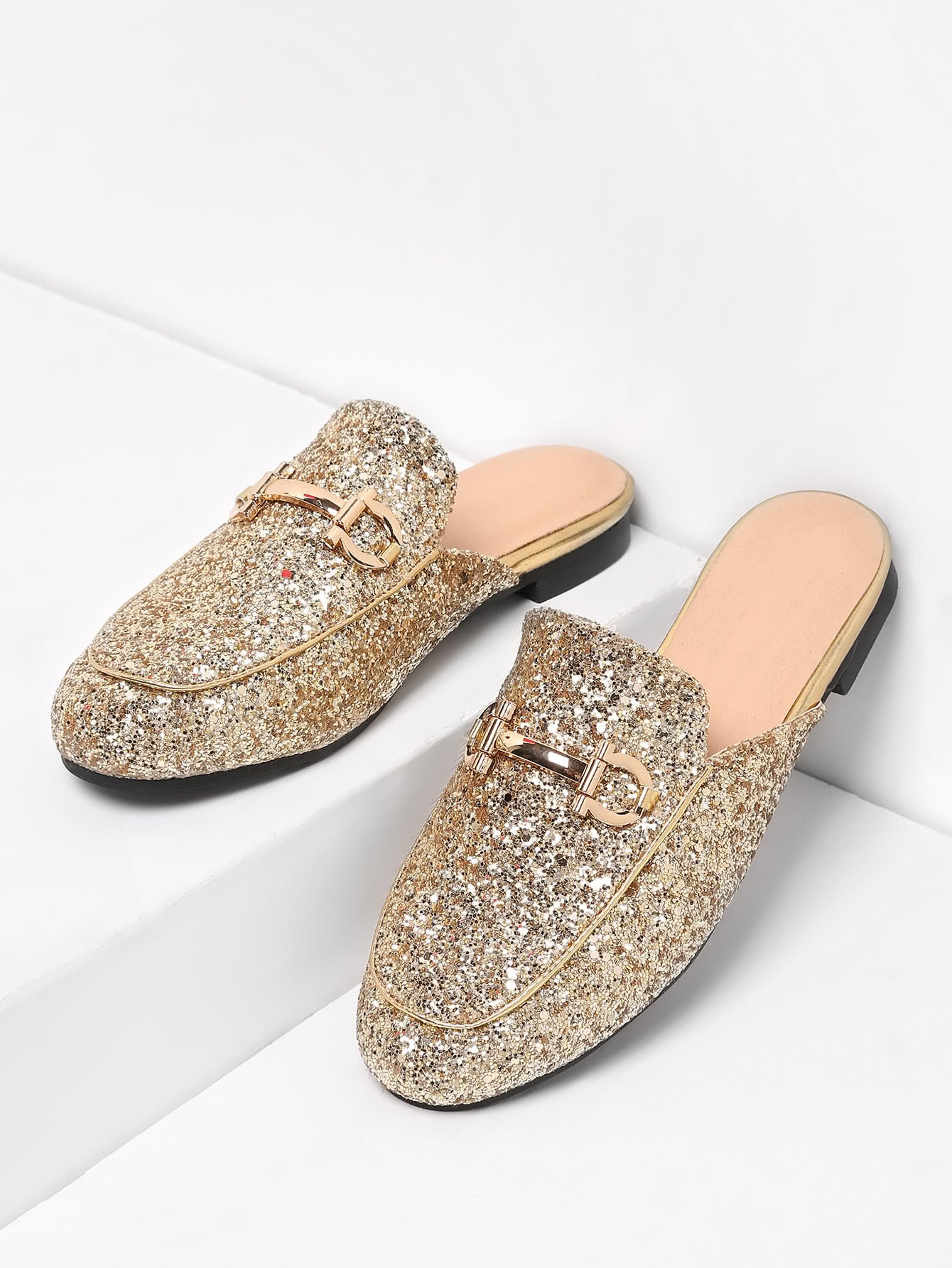 Image of Metal Detail Glitter Overlay Flat Mules