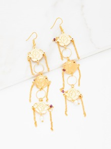 Rose Design Drop Earrings With Chain