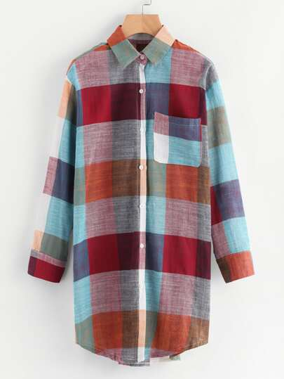 Checked Shirt Dress With Chest Pocket