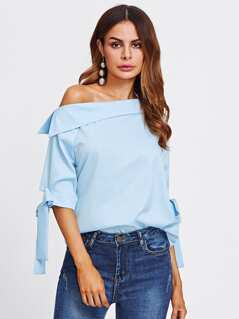 Collared Asymmetric Shoulder Bow Detail Blouse