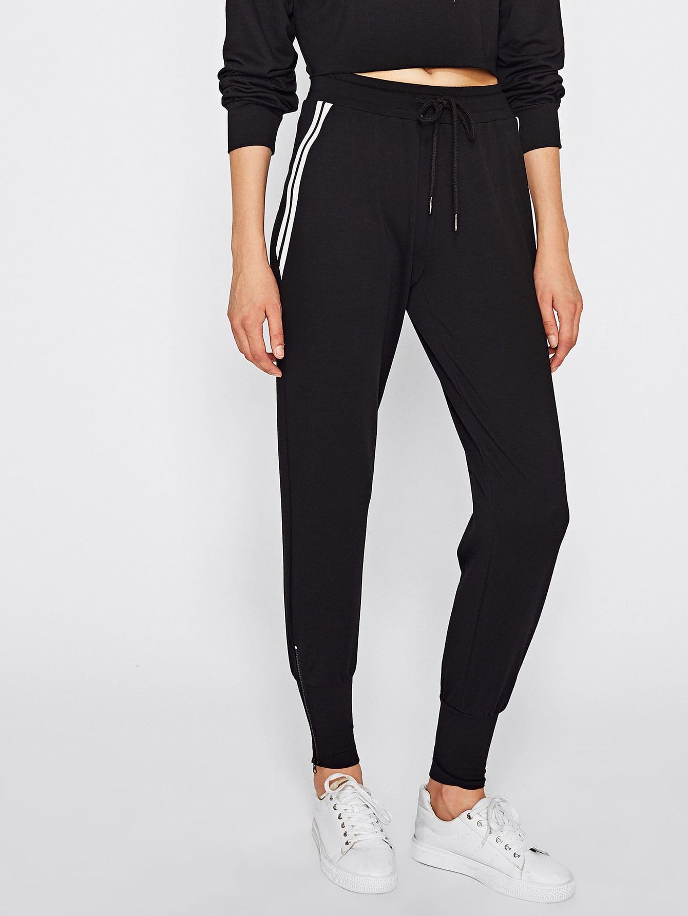 Zip Embellished Striped Side Sweatpants men side striped embellished jogger