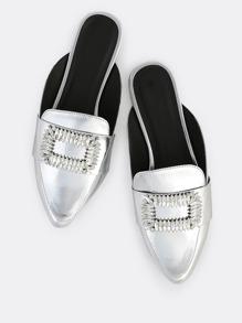 Metallic Diamond Buckle Loafers SILVER