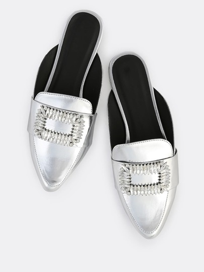 Metallic Diamond Buckle Loafers SILVER
