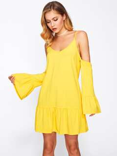 Fluted Sleeve Tiered Hem Dress