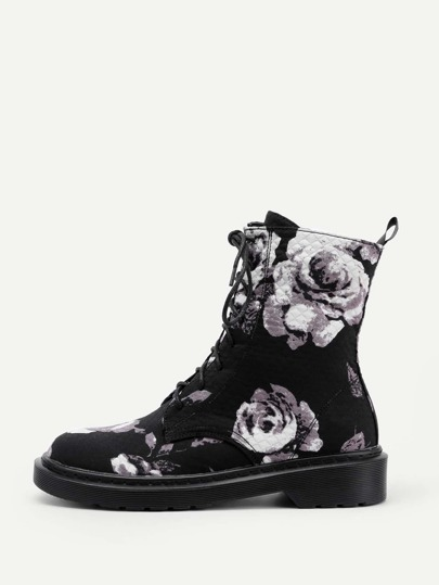 Rose Print Lace Up Flat Boots