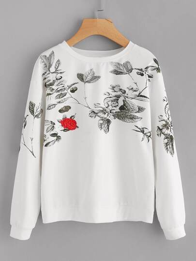 Drop Shoulder Flower Print Sweatshirt