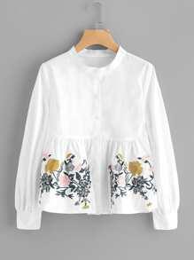 Модная блуза с цветочной вышивкой