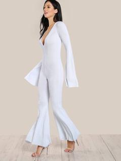 Ribbed Flare Hem Jumpsuit WHITE