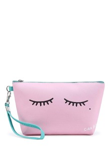 Eyelash Print Makeup Bag With Wristlet
