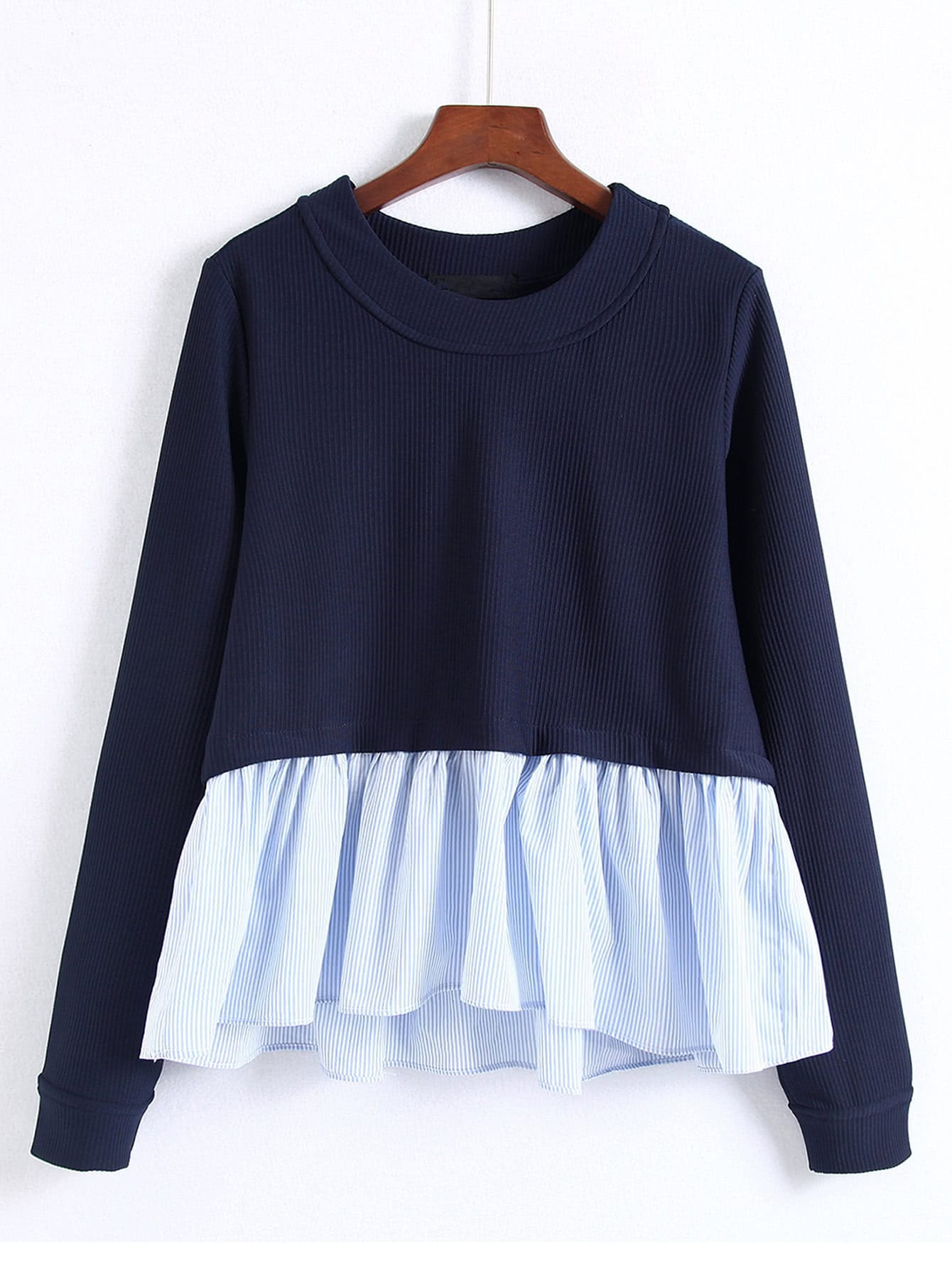 Pinstriped Frill Hem Babaydoll Sweatshirt zip back frill neck and hem sweatshirt