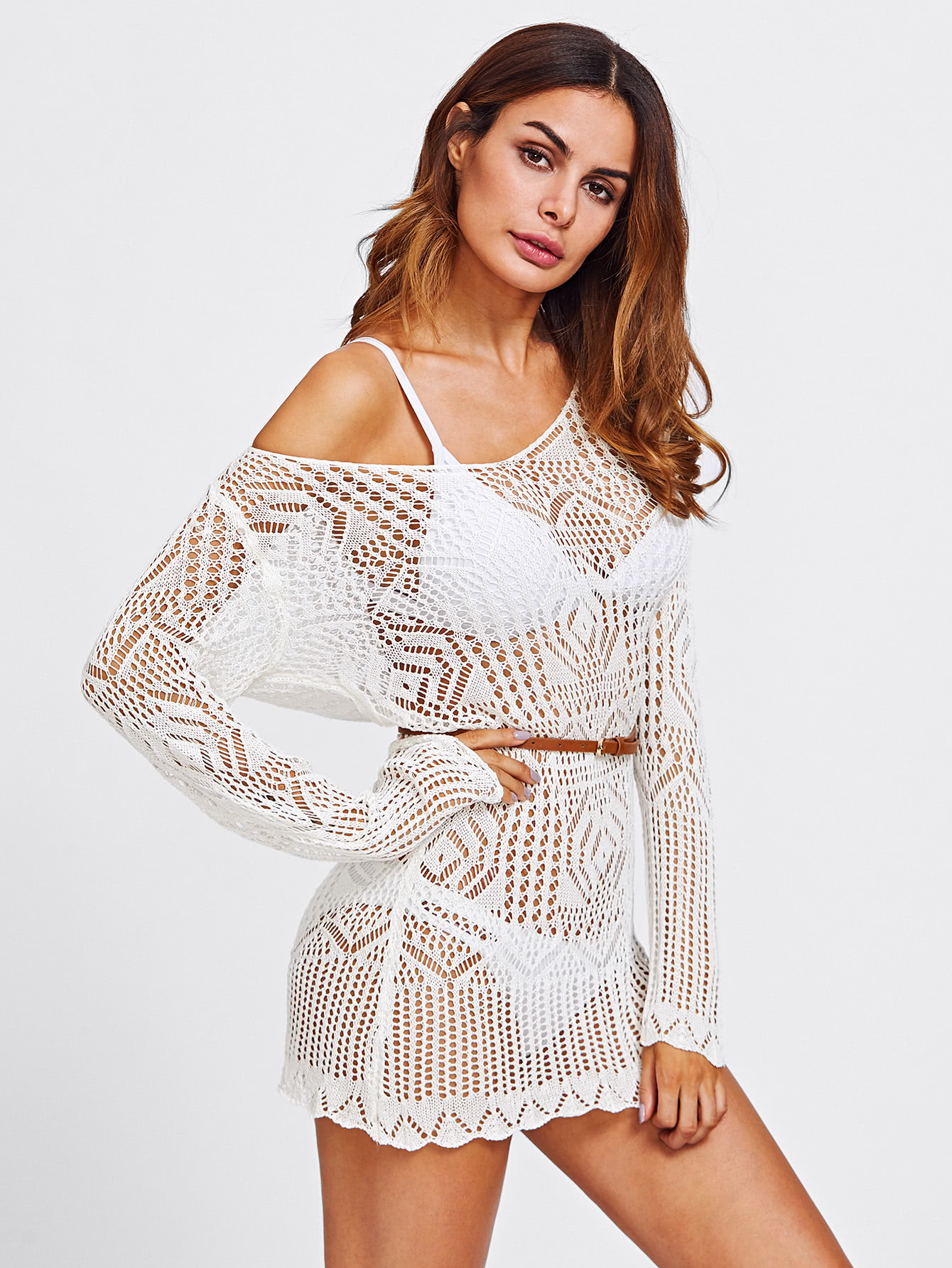 Off Shoulder Scallop Trim Open Knit Cover Up frayed trim open front tweed blazer