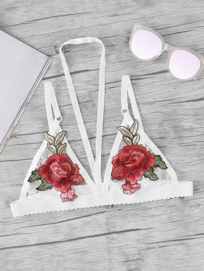 Embroidered Rose Applique Lace Halter Bralette