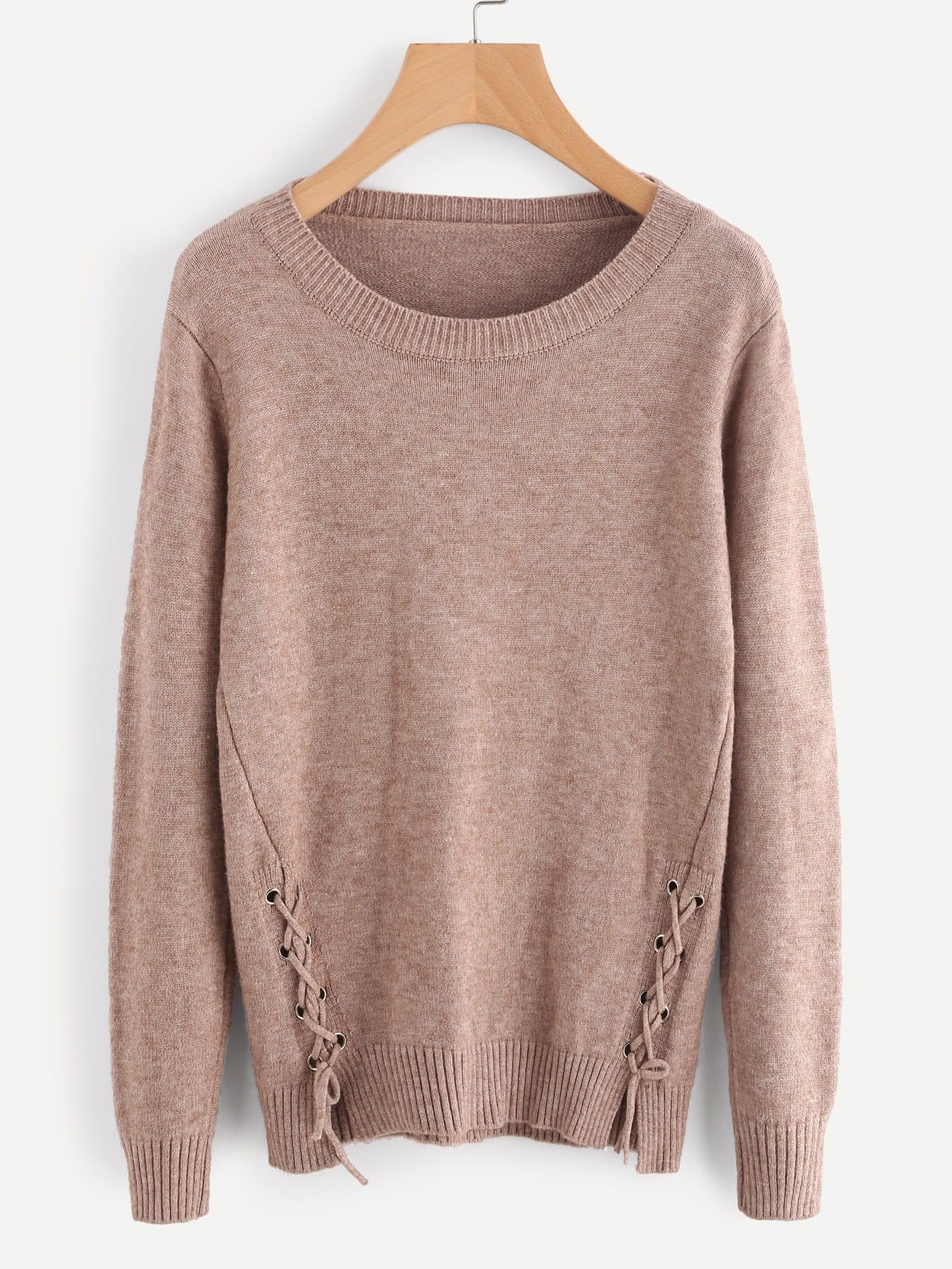 Lace Up Side Slub Sweater sweater170830103