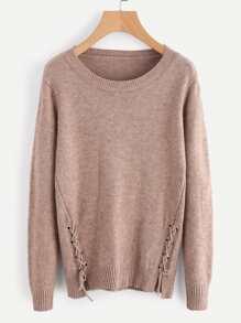 Lace Up Side Slub Sweater