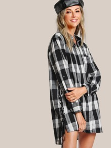Plaid Print Button Up Dress BLACK