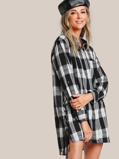 Plaid Button Up Dress BLACK