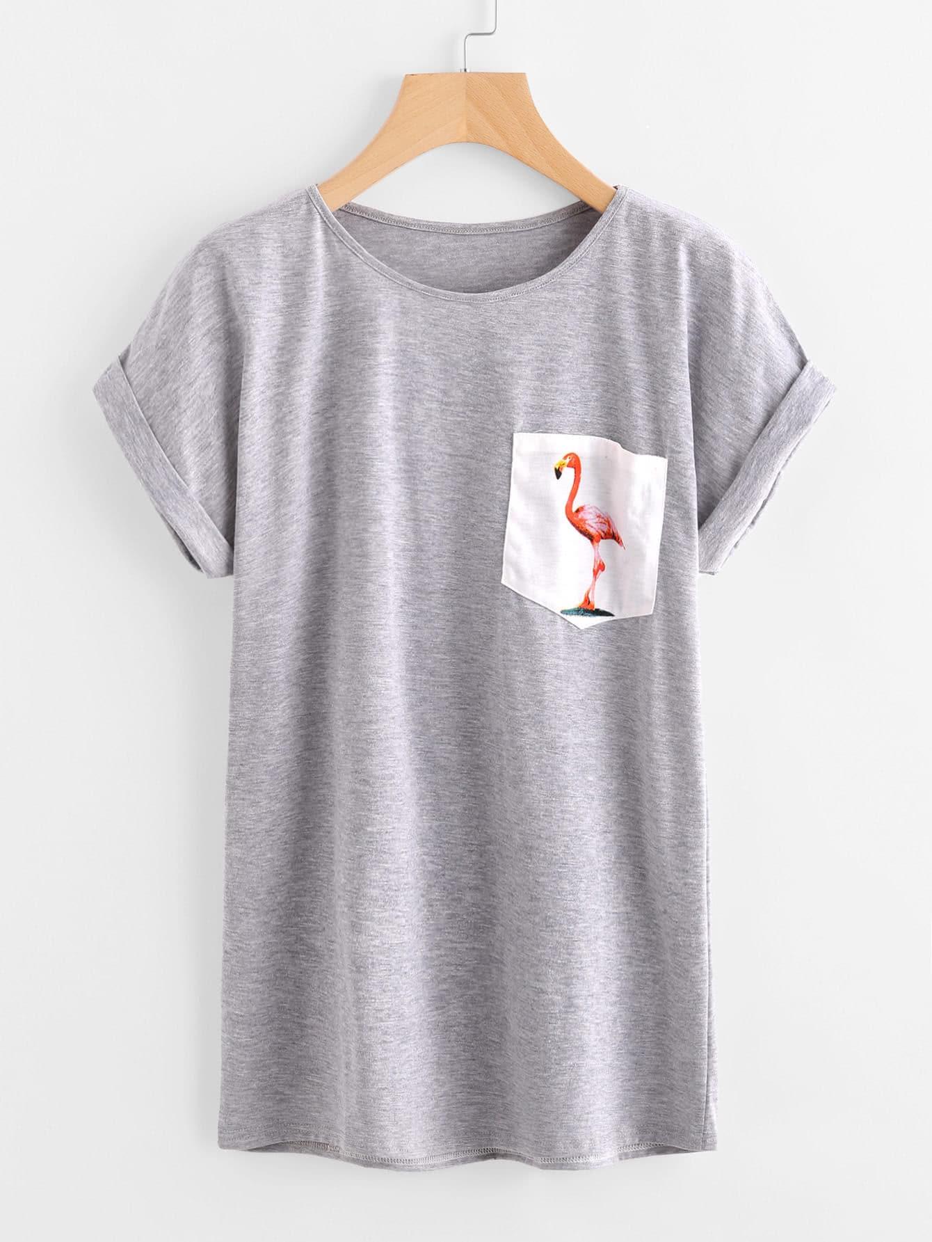 Contrast Flamingo Print Pocket Marled Cuffed Tee graphic print cuffed tee