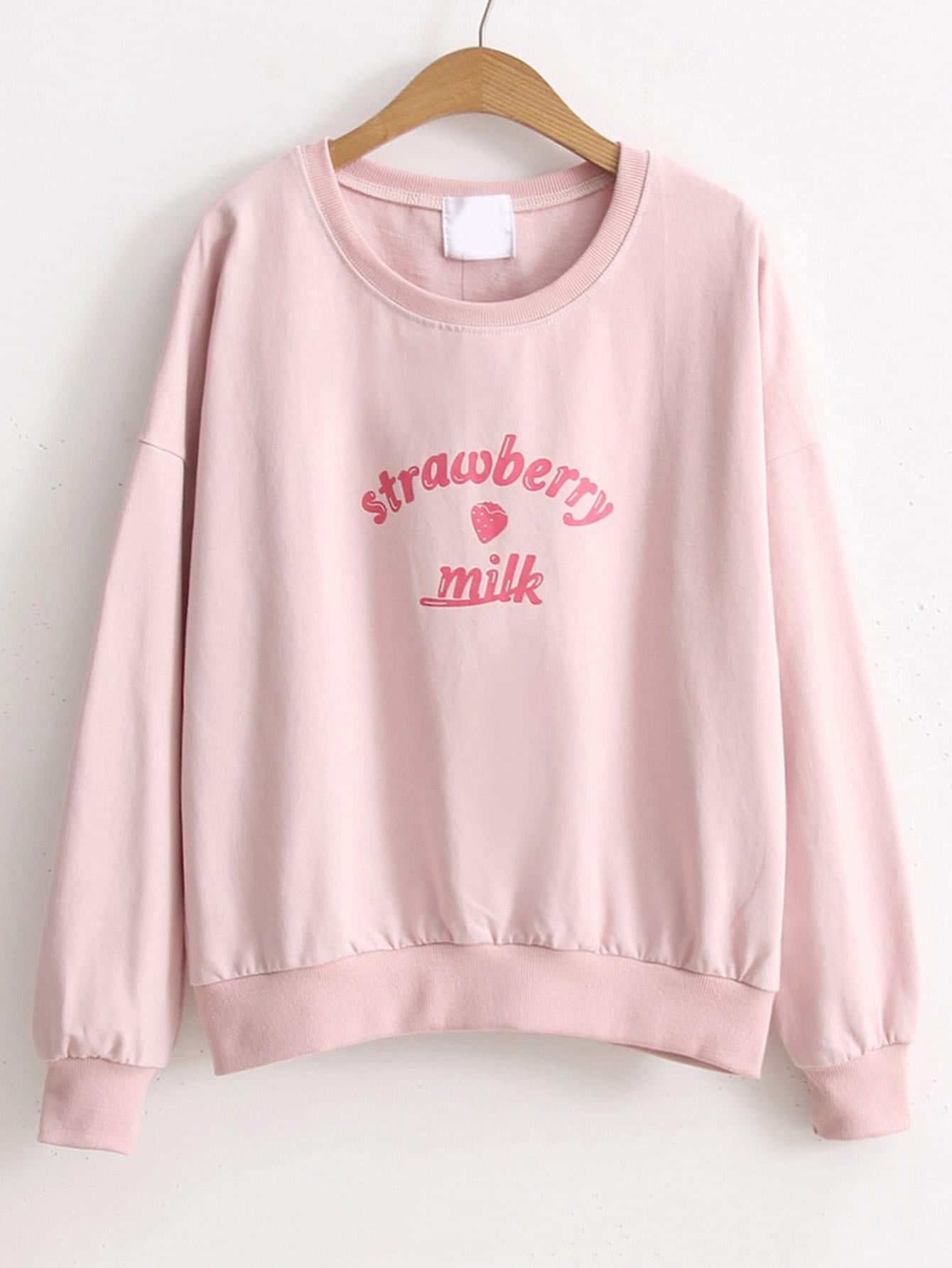 Drop Shoulder Letter Print Sweatshirt drop shoulder letter print sweatshirt