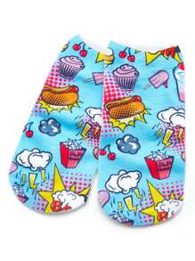 Cartoon Print Invisible Socks
