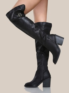 Side Buckle Over The Knee Boots BLACK