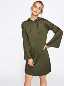 Drop Shoulder Slit Side Hoodie Dress