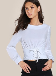 Lace Up Shirred Long Sleeve Shirt WHITE