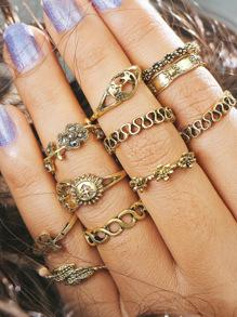 11 piezas de anillo con diseño de flor y hoja