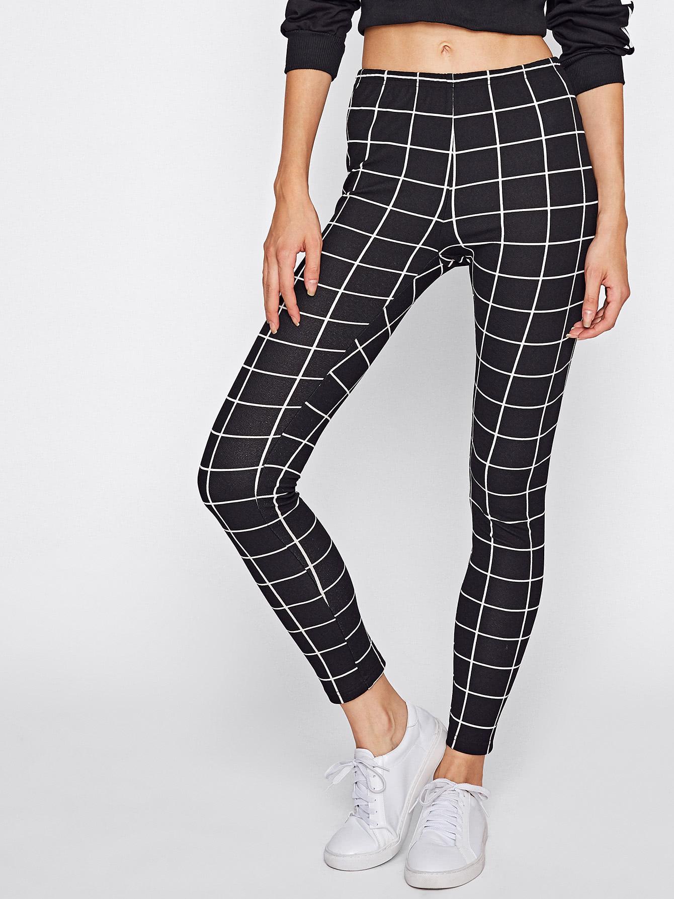 Grid Print Leggings leggings170816701