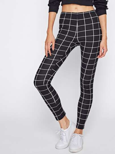 Grid Print Leggings