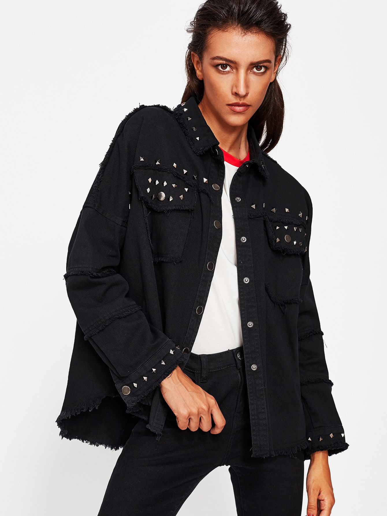 Studded Frayed Hem Denim Jacket