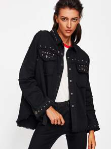 Studded Frayed Hem Denim Jacket