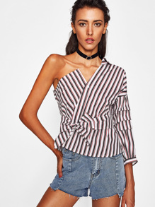 One Shoulder Ruched Sleeve Self Tie Striped Blouse