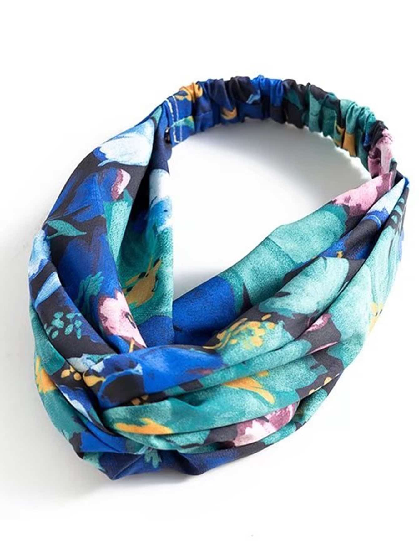 Watercolor Flower Print Twist Headband tropical print twist headband