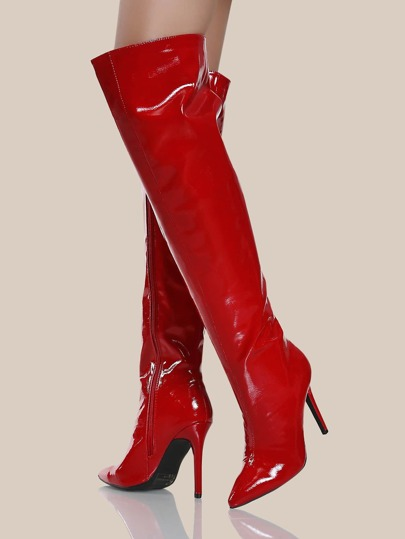Crinkle Patent Point ToeThigh High Stiletto Boots RED