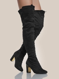 Faux Suede Gold Heel Thigh High Boots BLACK