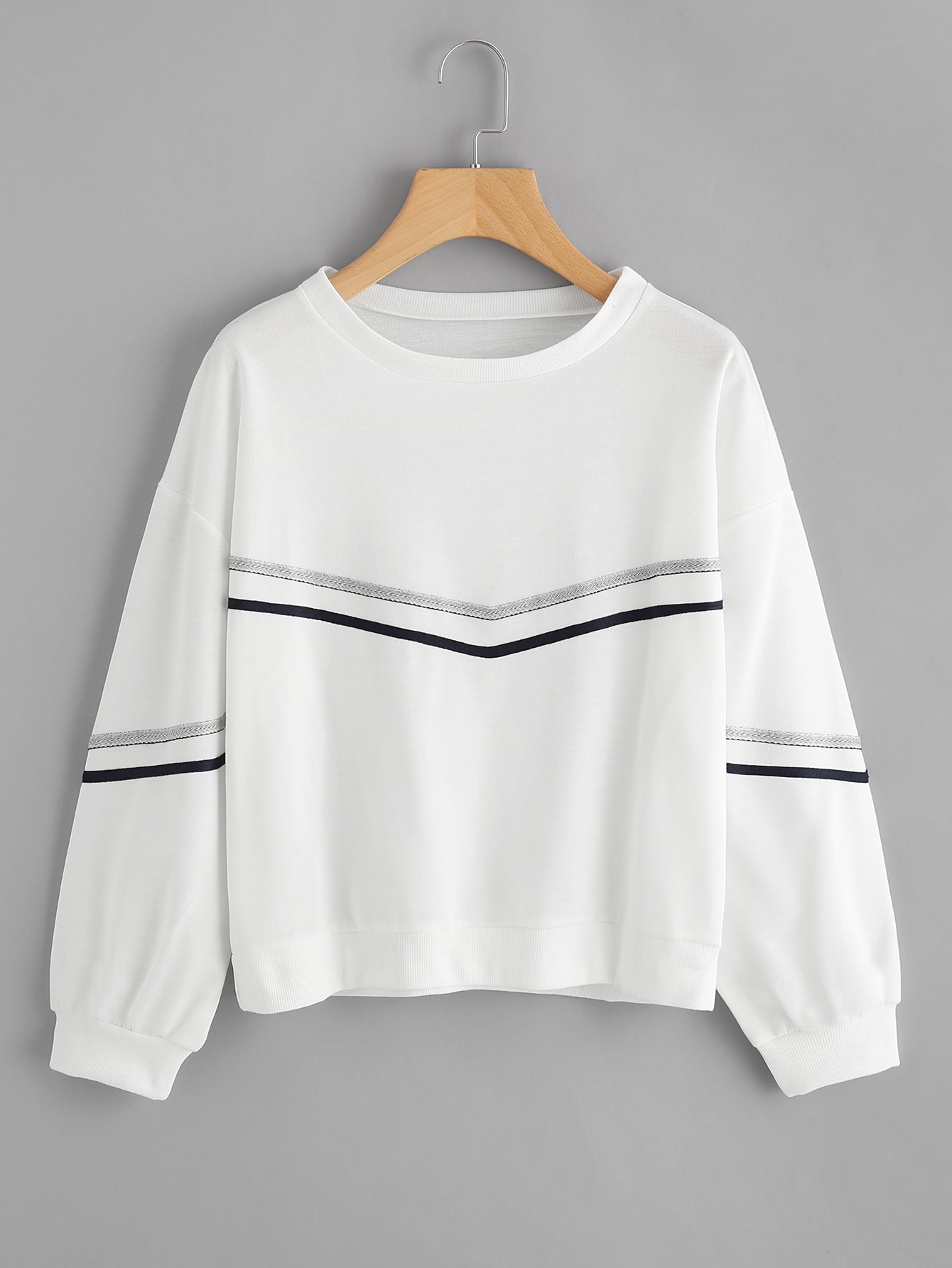 Tape Detail Drop Shoulder Sweatshirt drop shoulder grommet tie detail sweatshirt