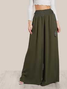 Tassel Tied Shirred Waist Super Wide Leg Pants