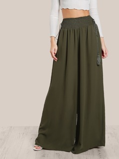 Tassel Tied Shirred Waist Super Wide Leg Pants