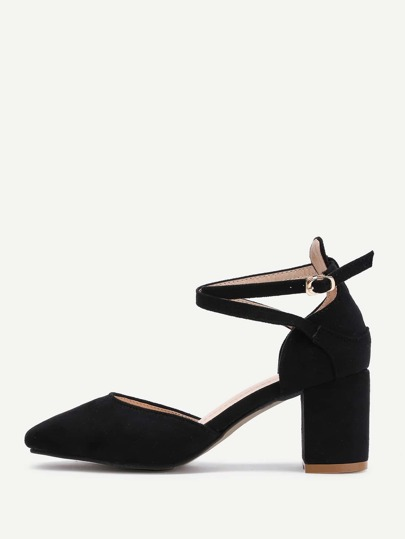 Pointed Toe Ankle Strap Block Heels