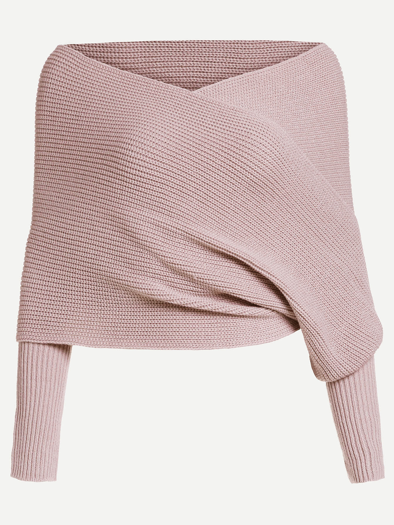 Off Shoulder Cross Wrap Jumper -SheIn(Sheinside)