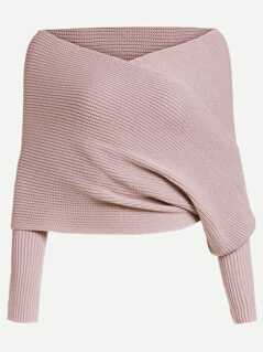 Off Shoulder Cross Wrap Jumper