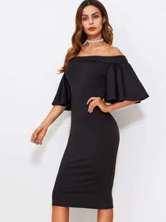 Flutter Sleeve Off Shoulder Split Back Dress