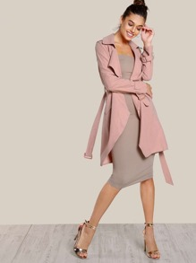 Belted Cuff And Waist Wrap Coat