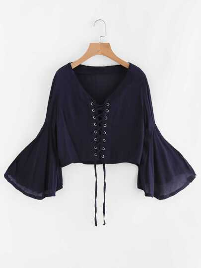 V Neckline Bell Sleeve Eyelet Lace Up Top