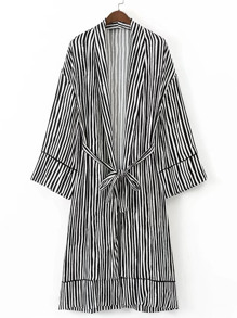 Vertical Striped Self Tie Longline Kimono