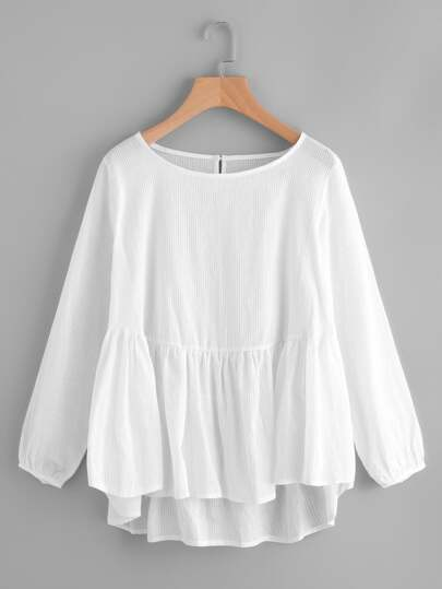 Frill Hem High Low Blouse